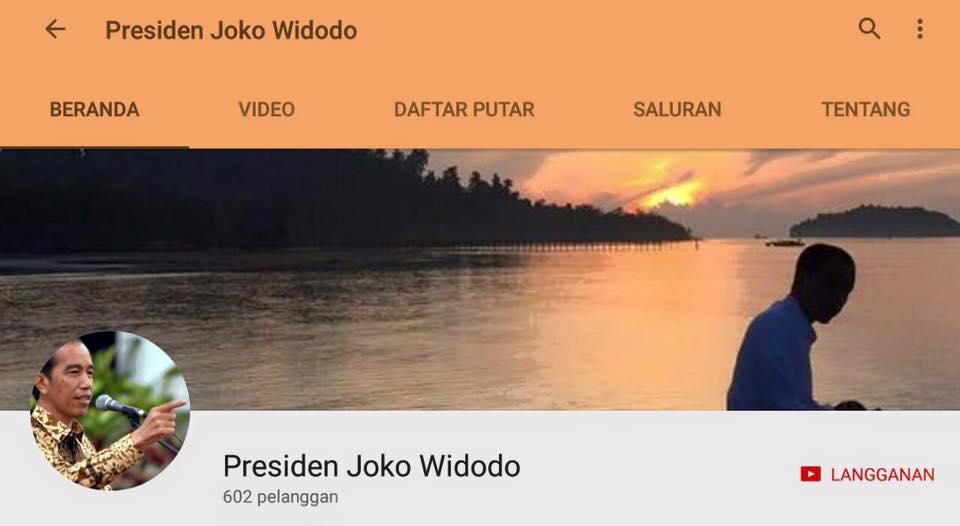 Kanal Youtube resmi Presiden Joko Widodo