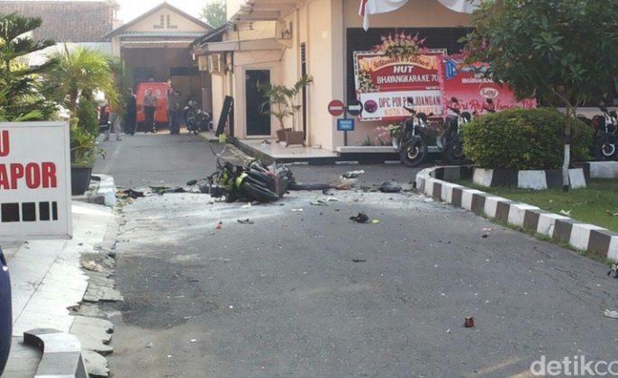 bekas ledakan Mapolres Surakarta