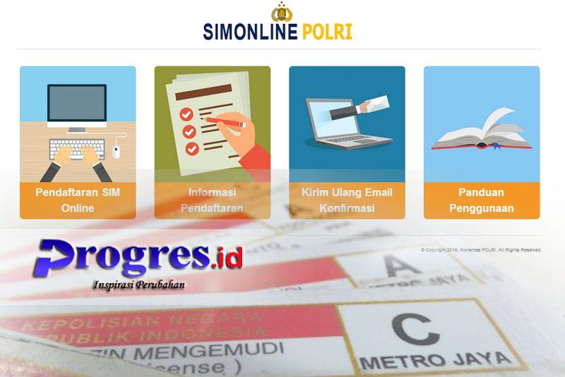 Pembuatan dan perpanjangan SIM Online di sim.korlantas.polri.go.id   Ilustrasi : Dok. Progres