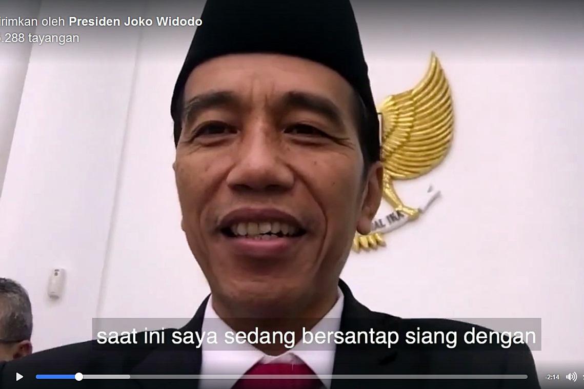 Jokowi membuat vlog yang mengabadikan santap siang bersama Raja Salman di Istana Kepresidenan Bogor, Jawa Barat, pada Rabu (1/3/2017) | Foto : Progres.id