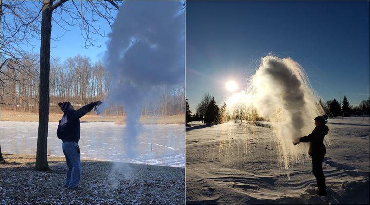 Warga melakukan polar vortex challenge dengan melemparair mendidih ke udara dan menjadi awan salju (Foto: IndianExpress.com)