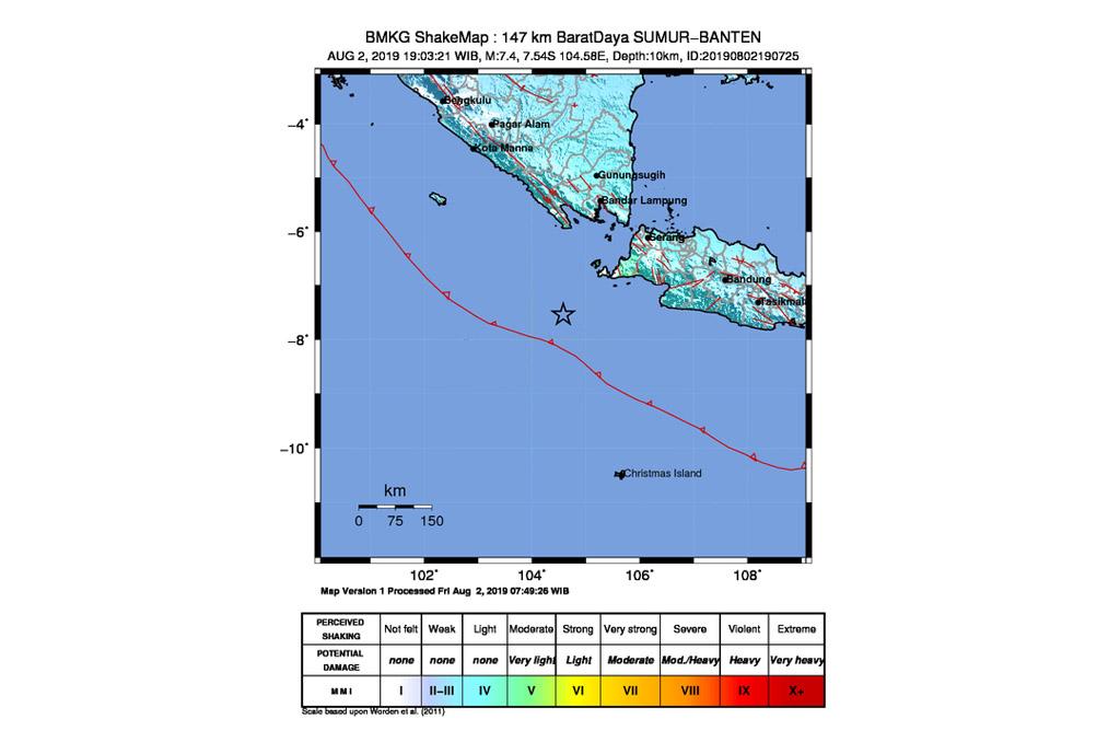 Peta gempa bumi yang berpusat di Sumur, Banten (Dok. BMKG)