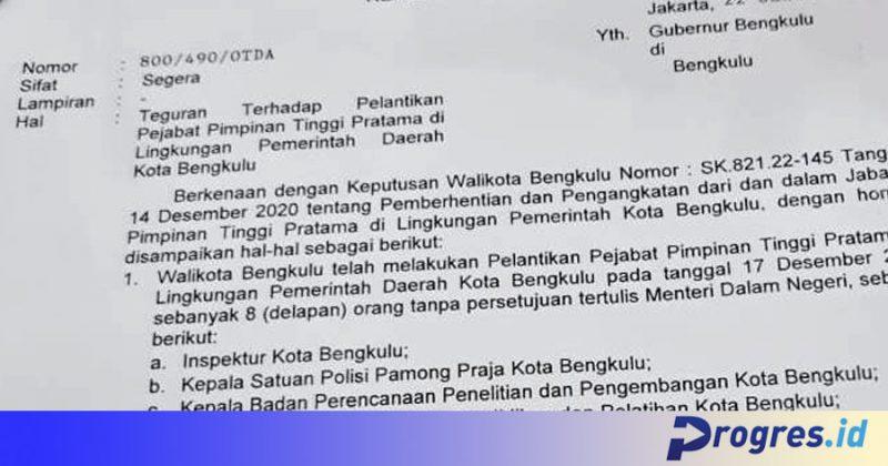 Surat teguran Mendagri untuk Walikota Bengkulu terkait pelantikan 8 pejabat di lingkungan Pemkota Bengkulu