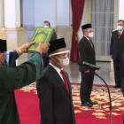 Pelantikan Menteri Investasi/Kepala BKPM, Mendikbudristek, dan Kepala BRIN, di Istana Negara, Jakarta, Rabu (28/04/2021). (Foto: Tangkapan layar YouTube Sekretariat Presiden)