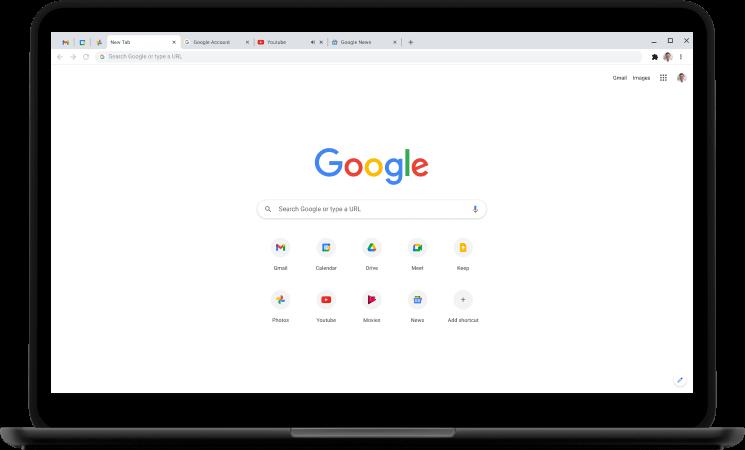 Tampilan Chrome d layar laptop (www.google.co.id/chrome)